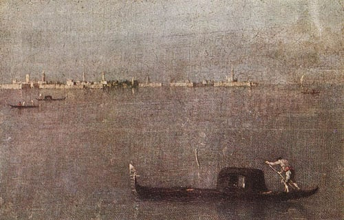 Gondola in the Lagoon 1765 1770 | Francesco Guardi | Oil Painting