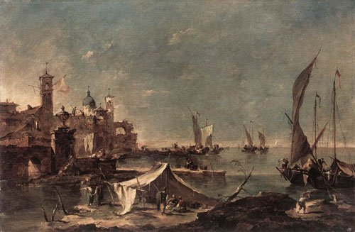 Landscape with a Fishermans Tent 1770 1775 | Francesco Guardi | Oil Painting