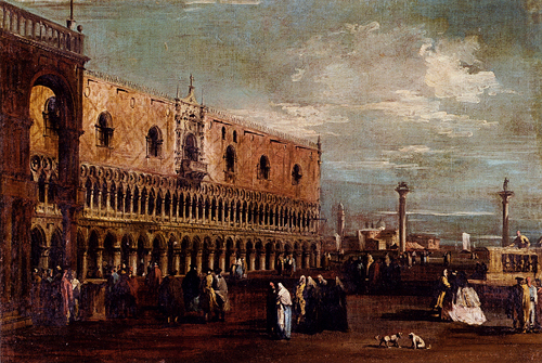 Venice A View Of The Piazzetta Looking South With The Palazzo Ducale | Francesco Guardi | Oil Painting