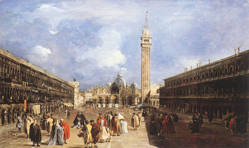 The Piazza San Marco towards the Basilica 1760 1765 | Francesco Guardi | Oil Painting