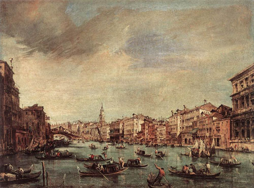 The Grand Canal Looking toward the Rialto Bridge 1765 | Francesco Guardi | Oil Painting