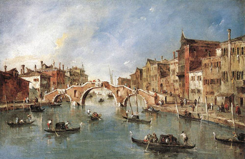 The Three Arched Bridge at Cannaregio 1765 1770 | Francesco Guardi | Oil Painting