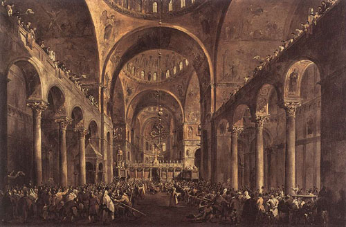 Doge Alvise IV Mocenigo Appears to the People in St Marks Basilica in 1763 1775 1777 | Francesco Guardi | Oil Painting