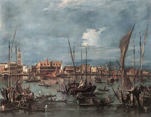 The Molo and the Riva degli Schiavoni from the Bacino di San Marco 1760 | Francesco Guardi | Oil Painting