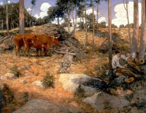 Noonday Rest in New England   Julian Alden Weir   Oil Painting
