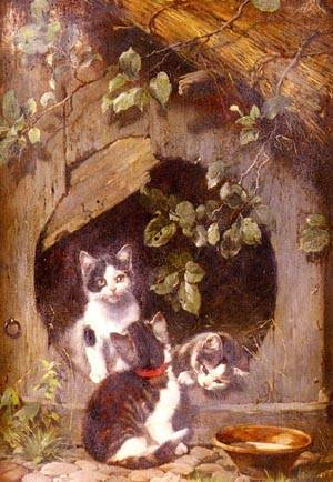 Playful Kittens | Julius Adam | Oil Painting