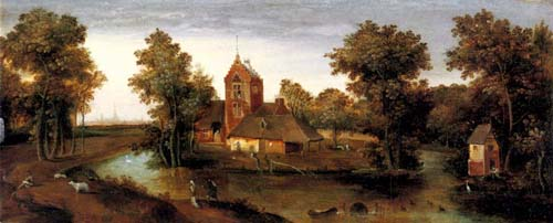 A moated tower with farmhouses | Abel Grimmer | Oil Painting