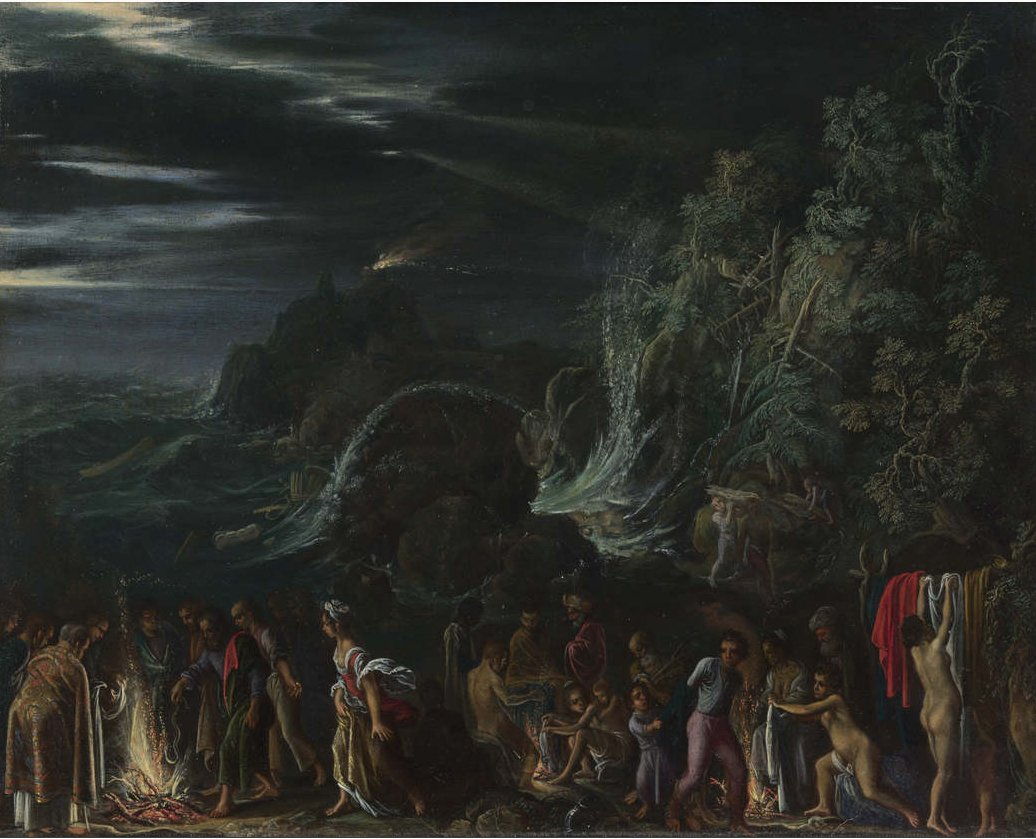 St Paul at Malta 1600 | Adam Elsheimer | Oil Painting