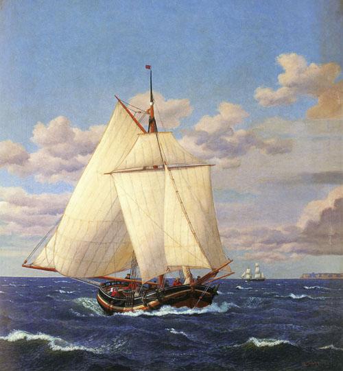 En dansk yacht passerer Stevns | Christoffer Wilhelm Eckersberg | Oil Painting