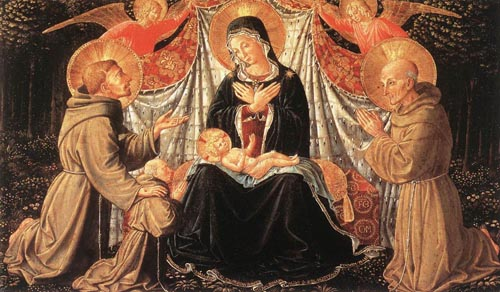 Madonna and Child with Sts Francis and Bernardine and Fra Jacopo 1452 | Benozzo di Lese di Sandro Gozzoli | Oil Painting