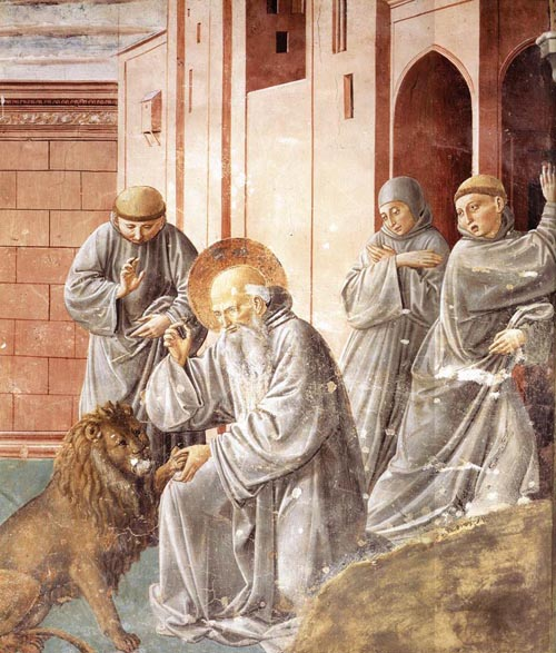 St Jerome Pulling a Thorn from a Lions Paw 1452 | Benozzo di Lese di Sandro Gozzoli | Oil Painting