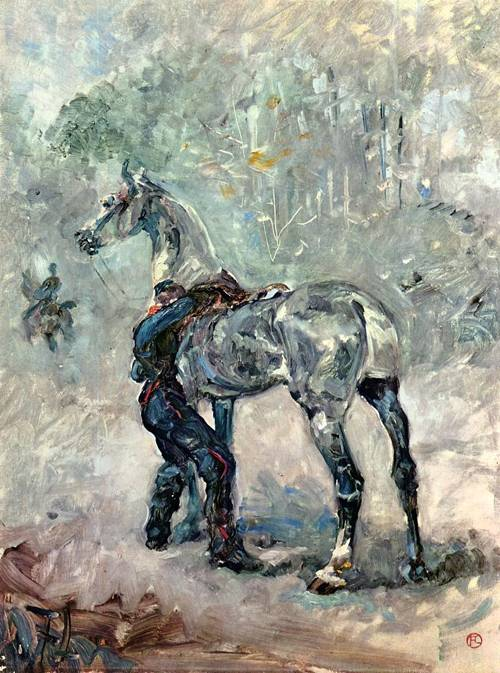 Artilleryman Saddling His Horse 1879 | Henri Toulouse Lautrec | Oil Painting
