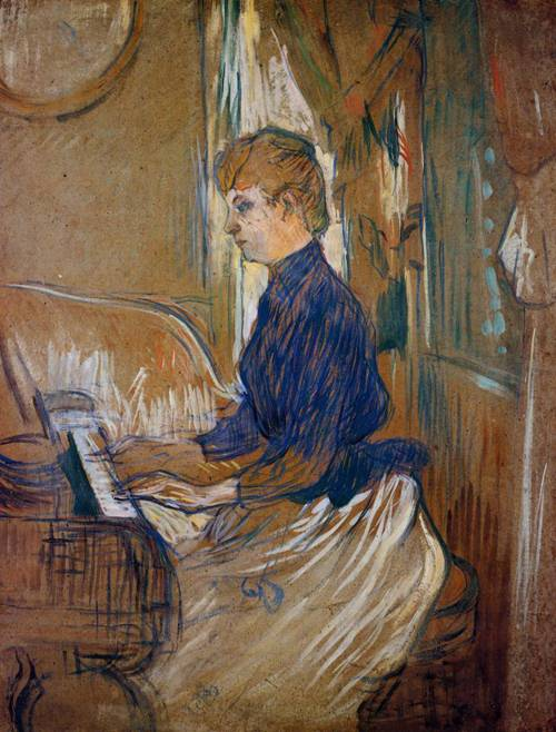 At the Piano-Madame Juliette Pascal in the Salon of the Chateau de Malrome 1896 | Henri Toulouse Lautrec | Oil Painting