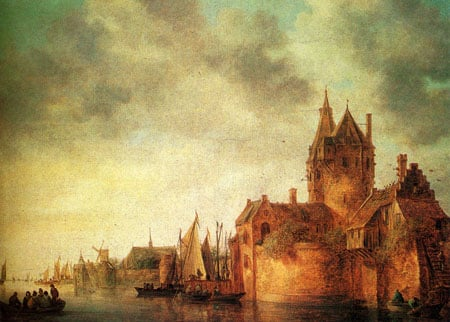A Castle By A River With Shipping At A Quay 1642 | Jan van Goyen | Oil Painting