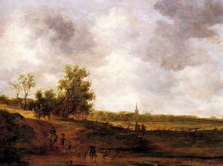 A rural landscape with peasants and a drover by a track a village beyond | Jan van Goyen | Oil Painting