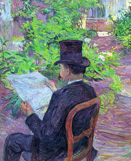 Desire Dehau Reading a Newspaper in the Garden 1890 | Henri Toulouse Lautrec | Oil Painting