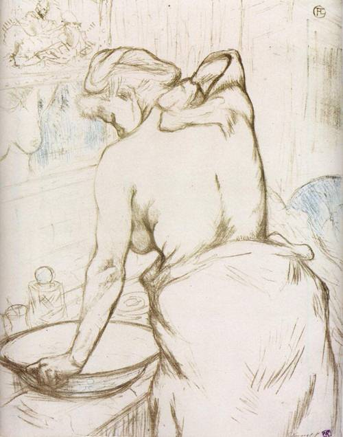 Elles Woman at Her Toilette Washing Herself 1896   Henri Toulouse Lautrec   Oil Painting