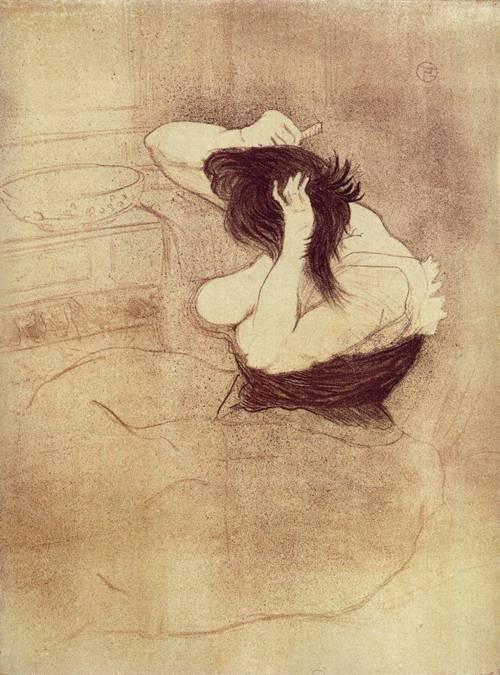 Elles Woman Combing Her Hair 1896   Henri Toulouse Lautrec   Oil Painting