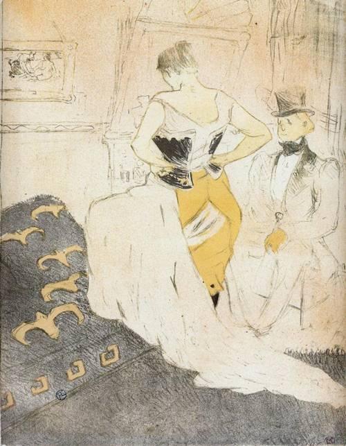 Elles Woman Fastening a Corset Passing Conquest 1896   Henri Toulouse Lautrec   Oil Painting