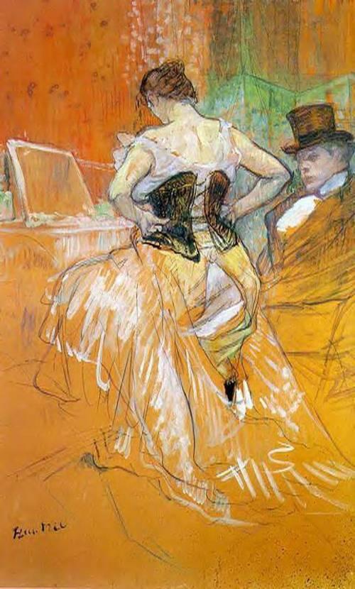 Elles Woman in a Corset 1896   Henri Toulouse Lautrec   Oil Painting