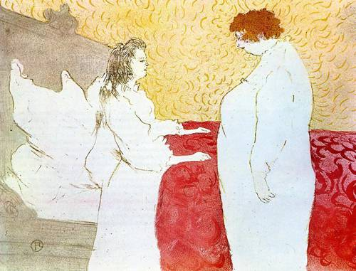 Elles Woman in Bed Profile Getting Up 1896   Henri Toulouse Lautrec   Oil Painting