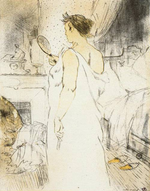 Elles Woman Looking into a Hand Held Mirror 1896   Henri Toulouse Lautrec   Oil Painting