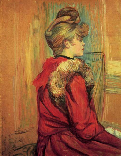 Girl in aa Fur Mademoiselle Jeanne Fontaine 1891   Henri Toulouse Lautrec   Oil Painting