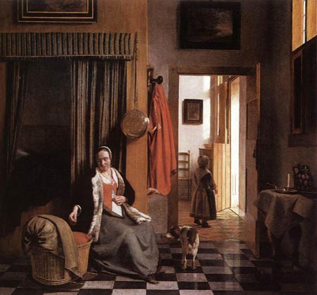 Mother Lacing Her Bodice beside a Cradle 1659 1660 | Pieter de Hooch | Oil Painting