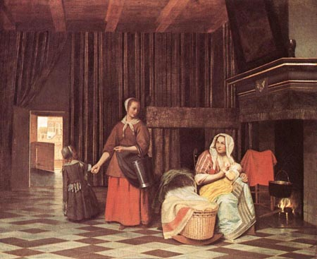 Suckling Mother and Maid 1670 1675 | Pieter de Hooch | Oil Painting