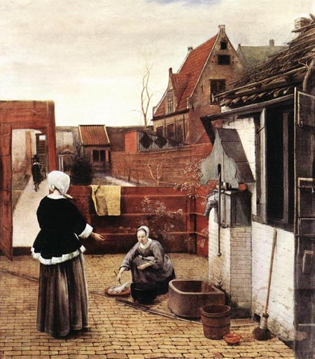 Woman and Maid in a Courtyard 1660 | Pieter de Hooch | Oil Painting