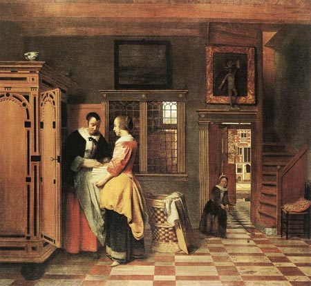 At the Linen Closet 1665 | Pieter de Hooch | Oil Painting