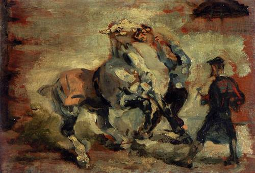 Horse Fighting His Groom 1881 | Henri Toulouse Lautrec | Oil Painting