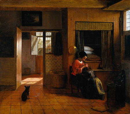 Interior with a Mother delousing her childs hair known as A Mothers duty 1658 1660 | Pieter de Hooch | Oil Painting