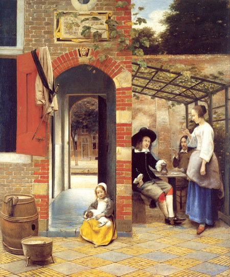 Figures Drinking in a Courtyard 1658 | Pieter de Hooch | Oil Painting