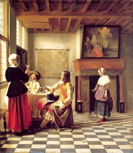 A Woman Drinking with Two Men and a Serving Woman 1658 | Pieter de Hooch | Oil Painting