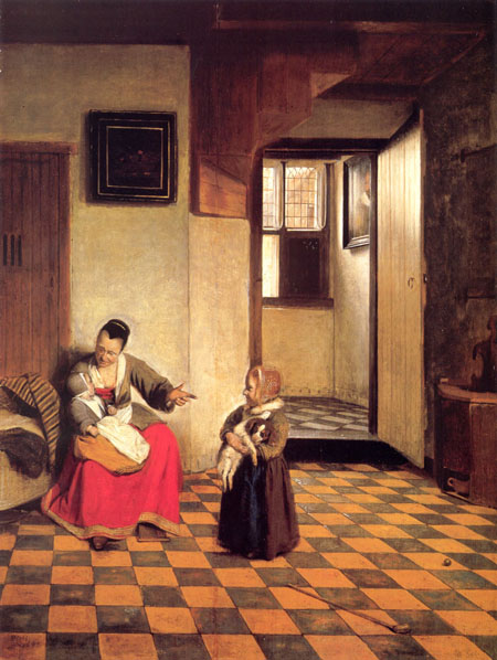 A Woman with a Baby in Her Lap and a Small Child 1658 | Pieter de Hooch | Oil Painting