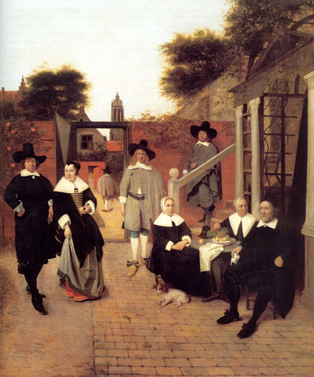 Portrait of a Family in a Courtyard in Delft 1658 1660 | Pieter de Hooch | Oil Painting