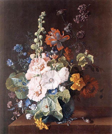 Hollyhocks and Other Flowers in a Vase 1710 | Jan Van Huysum | Oil Painting