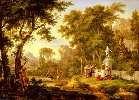 A classical landscape with the Worship of Bacchus 54 72 | Jan Van Huysum | Oil Painting
