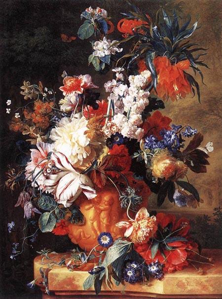 Bouquet of Flowers in an Urn 1724 | Jan Van Huysum | Oil Painting