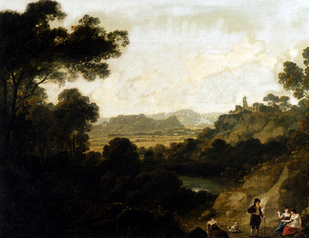 A Distant View Of Llantrisant Castle Glamorganshire With Figures Seated In The Foreground 1817 | Julius Caesar Ibbetson | Oil Painting