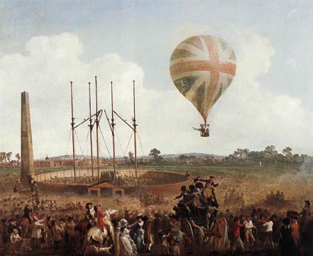 George Biggins Ascent in Lunardi Balloon 1785 | Julius Caesar Ibbetson | Oil Painting