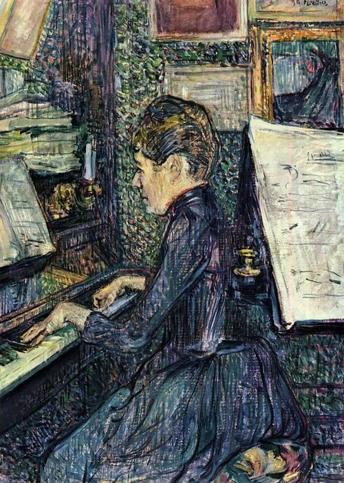 Mille. Dihau Playing the Piano 1890 | Henri Toulouse Lautrec | Oil Painting