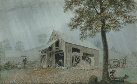 Rainstorm Cider Mill at Redding Connecticut 1840 | George Harvey | Oil Painting