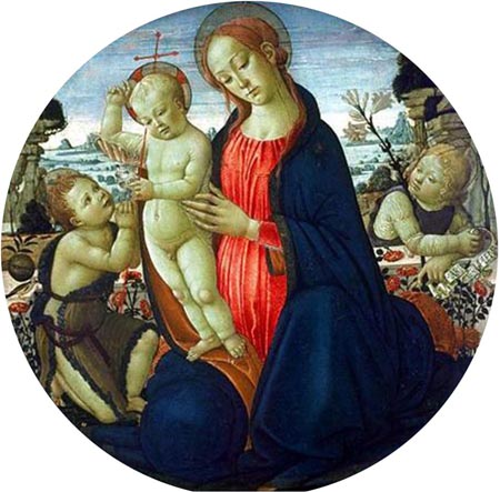 Madonna and Child with Infant St John the Baptist and Attending Angel 1485 | Jacopo del Sellaio | Oil Painting
