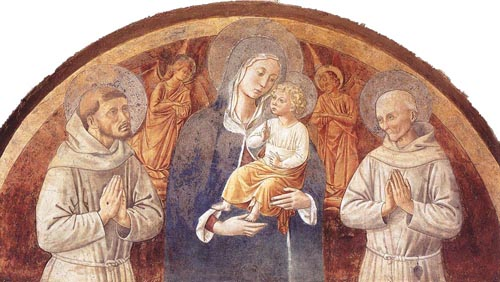 Madonna and Child between St Francis and St Bernardine of Siena 1450 | Benozzo di Lese di Sandro Gozzoli | Oil Painting