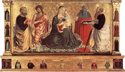 Madonna and Child with Sts John the Baptist Peter Jerome and Paul 1456 | Benozzo di Lese di Sandro Gozzoli | Oil Painting
