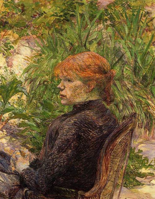 Red Haired Woman Seated in the Garden of M. Forest 1889 | Henri Toulouse Lautrec | Oil Painting