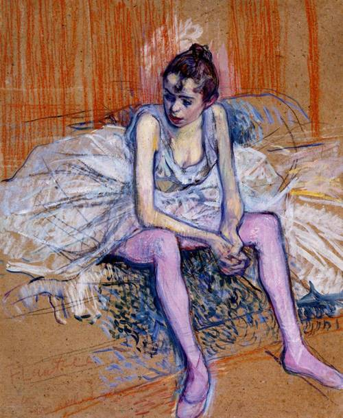 Seated Dancer in Pink Tights 1890 | Henri Toulouse Lautrec | Oil Painting