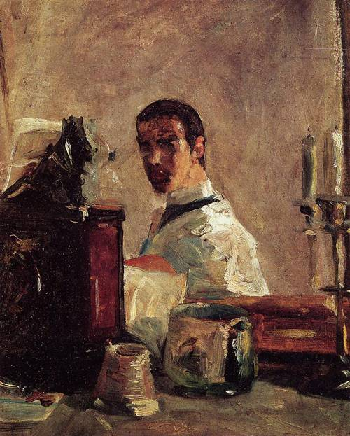 Self Portrait in front of a Mirror 1882-1883 | Henri Toulouse Lautrec | Oil Painting